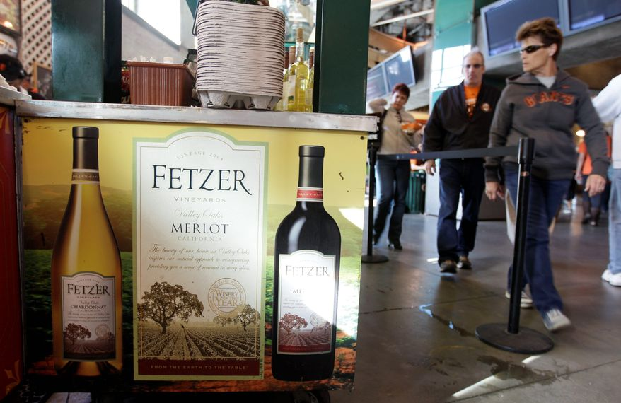 Five years or so ago, wine was mostly limited to customers occupying the premium seats at ballparks. But these days it's more likely to be in the main concourse, such as at AT&T Park in San Francisco. Red wine sales peak during the cooler month of October. (Associated Press)