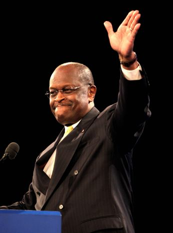 Republican presidential candidate Herman Cain trounced GOP front-runners Rick Perry and Mitt Romney in a weekend poll of 2,657 delegates at the Conservative Political Action Conference in Florida. (Associated Press)