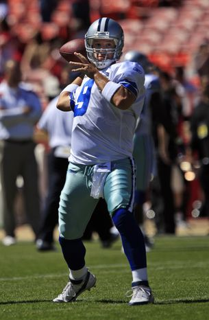 Dallas Cowboys quarterback Tony Romo practiced on Saturday after suffering a fractured rib and punctured lung, but good will he be against the Washington Redskins on Monday night? (AP Photo/Marcio Jose Sanchez)