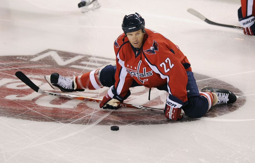Washington Capitals' Mike Knuble is a healthy scratch for the first time in his three years in Washington. (AP Photo/Nick Wass)