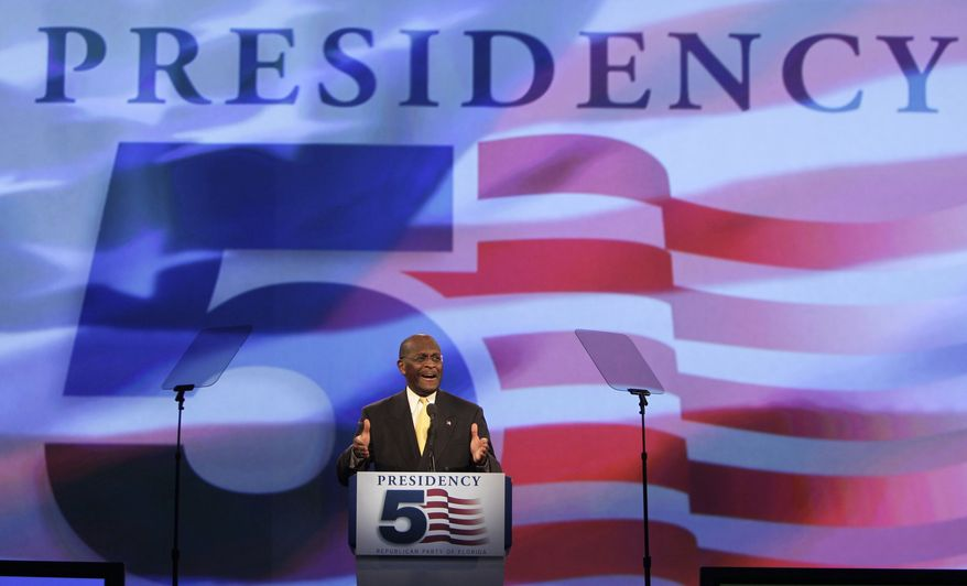 GOP presidential candidate Herman Cain speaks to delegates before a straw poll during the Florida Republican Party Presidency 5 Convention on Saturday, Sept. 24, 2011, in Orlando, Fla. (AP Photo/John Raoux)