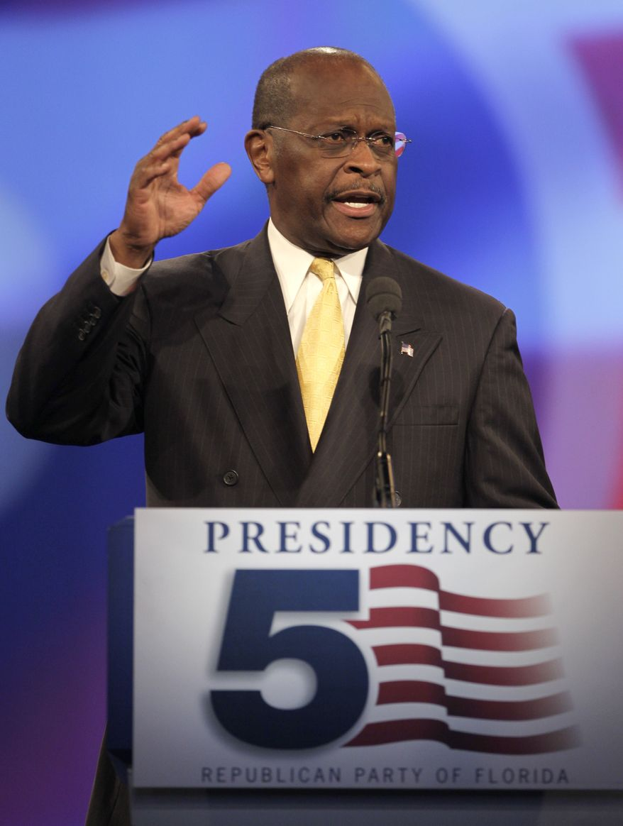 Herman Cain speaks before a straw poll during a Florida Republican Party Presidency 5 Convention on Saturday, Sept. 24, 2011, in Orlando, Fla. (AP Photo/John Raoux)