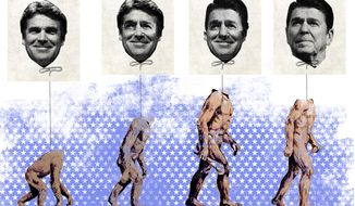 Illustration: Perry's evolution by Linas Garsys for The Washington Times