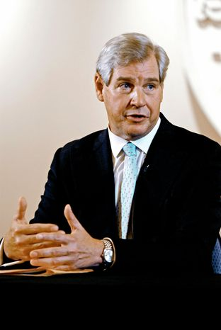 BITTER PILL: John Castellani, president and CEO of PhRMA, cautions against cutting from 12 years to seven the length of a patent on a company's new drug. (J.M. Eddins Jr./The Washington Times)