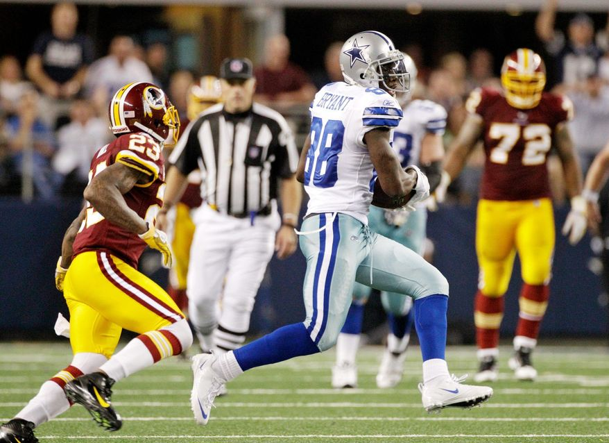 ASSOCIATED PRESS PHOTOGRAPHS Dallas receiver Dez Bryant gained separation on Washington cornerback DeAngelo Hall (upper left) to make a catch on what proved to be the winning drive. Bryant headed upfield for a 30-yard gain (upper right), and when the Redskins' Pro Bowl cornerback caught up (above right), he was called for facemasking, adding 15 yards on to the play.