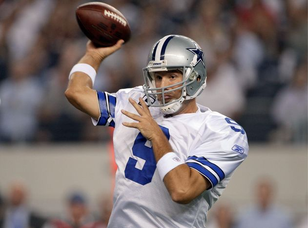 Cowboys quarterback  Tony Romo, battling rib and lung injuries, completed 22  of 36 passes for 255 yards in Dallas' 18-16 win Monday night. His biggest completion was  a 30-yarder to receiver Dez Bryant with 2:20 left in the fourth quarter.
