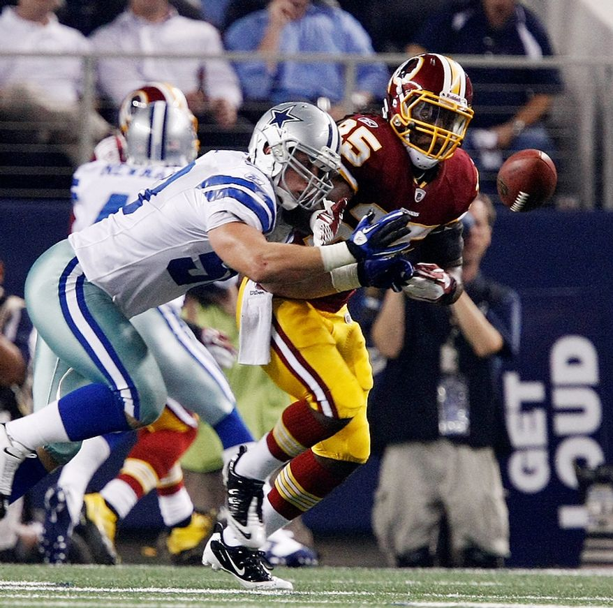 Dallas Cowboys inside linebacker Sean Lee (50) deflects a pass intended for Washington Redskins running back Tim Hightower (25) during the first half of an NFL football game Monday, Sept. 26, 2011, in Arlington, Texas. (AP Photo/Waco Tribune Herald, Jose Yau)