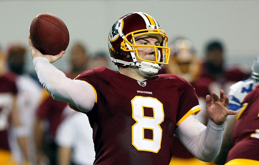 Washington Redskins quarterback Rex Grossman (8) passes in the second half of an NFL football game against the Dallas Cowboys, Monday, Sept. 26, 2011, in Arlington, Texas. (AP Photo/LM Otero)