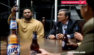Burt Reynolds and Jerome Bettis in a 2006 commercial for Miller Lite. (Miller Brewing Co.)