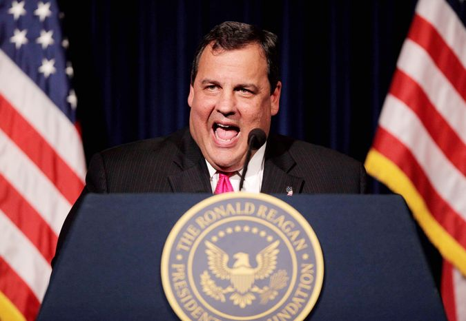 New Jersey Gov. Chris Christie indirectly attacked Texas Gov. Rick Perry, a candidate for the Republican presidential nomination, on immigration in a speech Tuesday at the Ronald Reagan Presidential Library in California. Mr. Christie has said he isn't a candidate for president in 2012. (Associated Press)