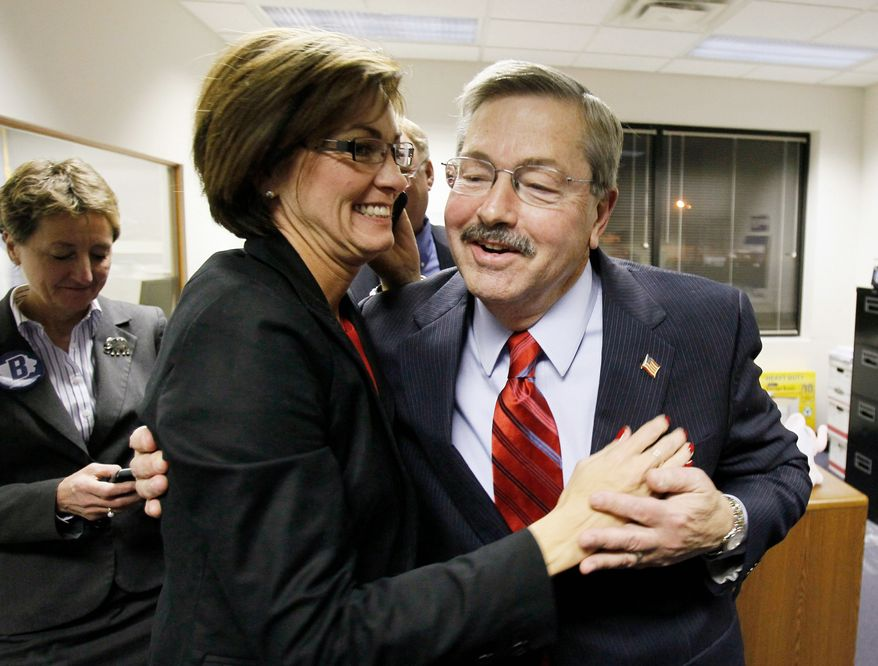 Terry E. Branstad (right) won the governor's race in Iowa in November. He's shown with his lieutenant governor running mate Kim Reynolds. The Republican Party holds a majority in the state House and is trying to pick up another seat in the state Senate this year. (Associated Press)