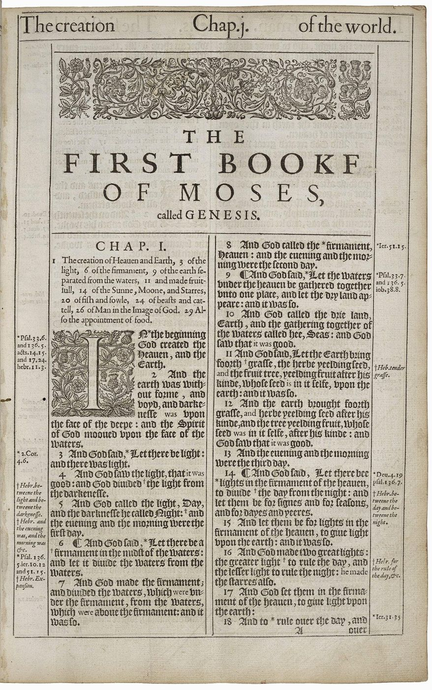 """The 1611 King James Bible is the subject of """"Manifold Greatness,"""" a new exhibit at the Folger Shakespeare Library. Seen here is a page of Genesis. Translation began in 1604 at the order of England's King James I. (Folger Shakespeare Library)"""