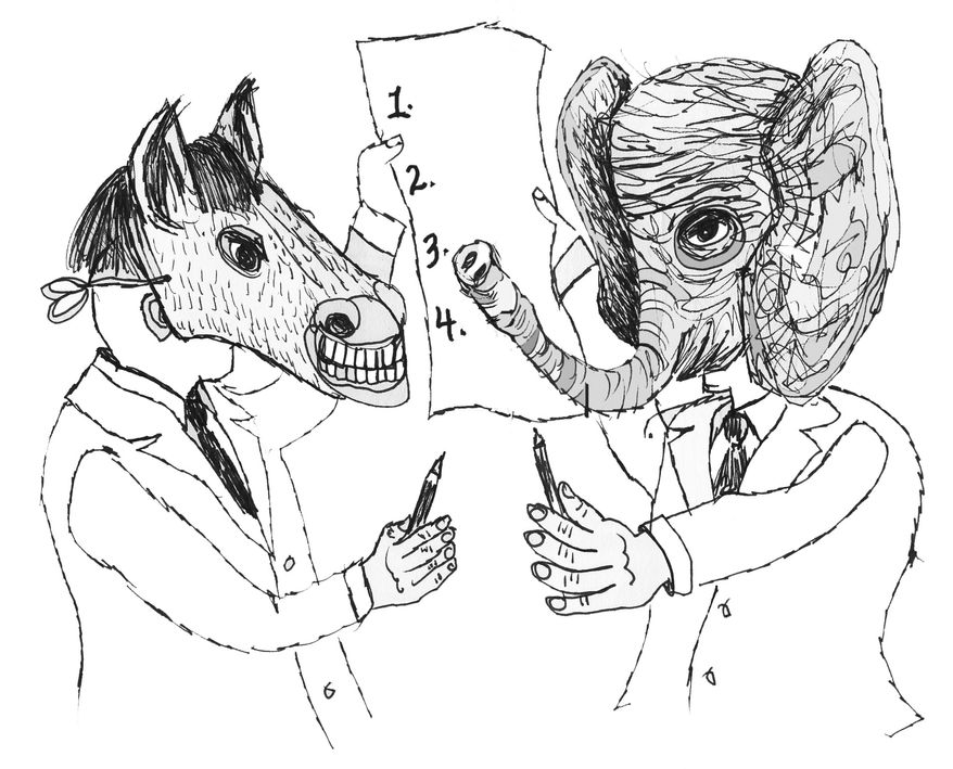 Illustration: Republicans and Democrats by John Camejo for The Washington Times