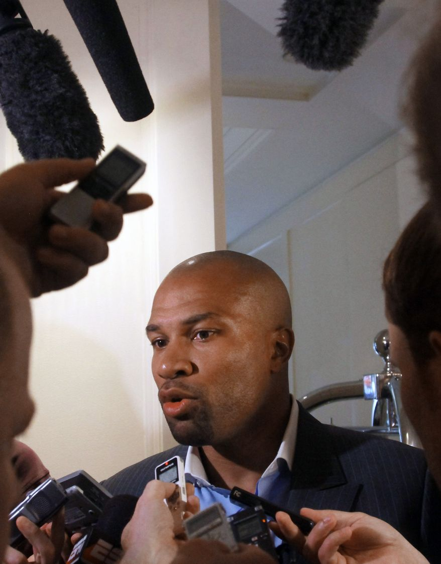 "This June 21, 2011 file photo shows Los Angeles Lakers basketball player and players association president Derek Fisher speaking to reporters, in New York. NBA owners and players will meet Friday, Sept. 30, 2011, and perhaps through the weekend, with Commissioner David Stern warning there are ""enormous consequences at play"" as the sides try to preserve an on-time start to the season. (AP Photo/Bebeto Matthews, File)"