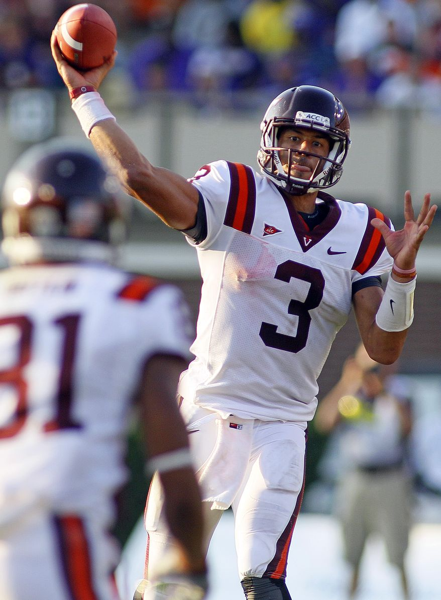 Virginia Tech's Logan Thomas knows that Saturday night's game against Clemson could turn into a shootout, but the offense must take advantage of its chances to make it so. Thomas has four touchdowns and four interceptions on 761 yards in the air. He also has 174 yards and a touchdown on the ground. (AP Photo/Karl DeBlaker)