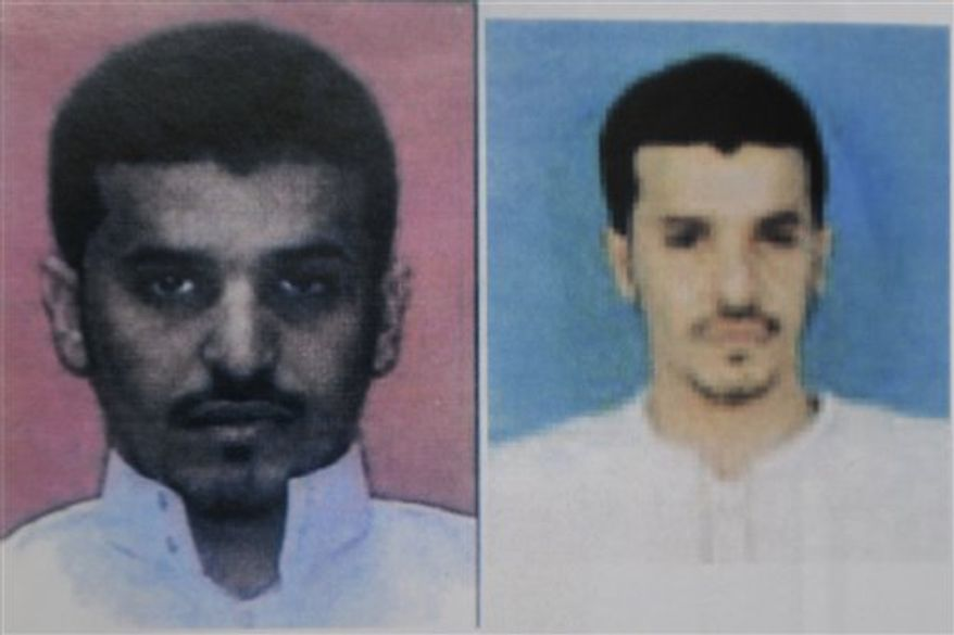 FILE - This undated file photo released by Saudi Arabia's Ministry of Interior on Sunday, Oct. 31, 2010, in a combination of two photos which they say both show bomb maker suspect Ibrahim Hassan al-Asiri. A Saudi militant believed killed in the U.S. drone strike in Yemen constructed the bombs for the al-Qaida branch's most notorious attempted attacks _ including the underwear-borne explosives intended to a down a U.S. aircraft, and a bomb carried by his own brother intended to assassinate a Saudi prince. The death of Ibrahim Hassan al-Asiri would make the Friday Sept. 30, 2011 drone strikes on a convoy in the central deserts of Yemen one of the most effective single blows in the U.S. campaign to take out al-Qaida's top figures. (AP Photo/Saudi Arabia Ministry of Interior, File) EDITORIAL USE ONLY - NO SALES