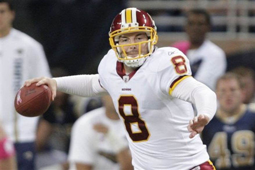 Washington Redskins quarterback Rex Grossman throws during the third quarter of the NFL football game against the St. Louis Rams Sunday, Oct. 2, 2011, in St. Louis. (AP Photo/Tom Gannam)