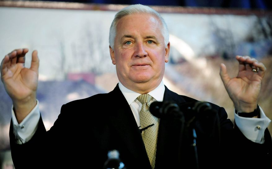 Pennsylvania Gov. Tom Corbett in Pittsburgh on Monday said his plan for the state's natural-gas boom would let counties impose a fee on drilling to help pay to regulate it and fix any environmental damage. (Associated Press)