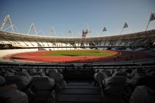 A general view of the London 2012 Olympic stadium is seen on Oct. 3, 2011. (Associated Press)