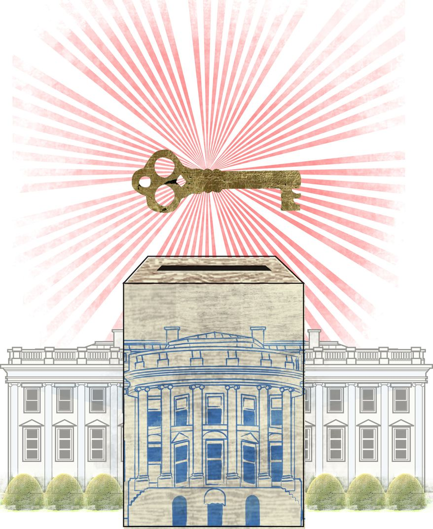 Illustration: Key to election by Linas Garsys for The Washington Times
