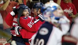 """Center Mathieu Perreault (85) made the roster by being the """"best player all of camp,"""" coach Bruce Boudreau said. (Andrew Harnik/The Washington Times)"""