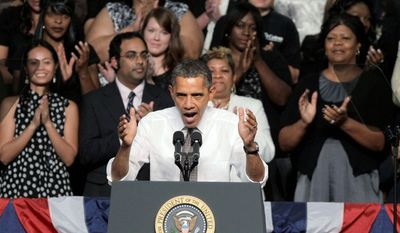 "President Obama, while speaking at Eastfield College in Mesquite College, Texas, entreats Congress to pass the American Jobs Act. ""Right now, he won't even let this jobs bill have a vote,"" the president said of House Majority Leader Eric Cantor, Virginia Republican. (Associated Press)"
