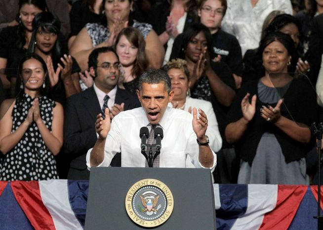 """President Obama, while speaking at Eastfield College in Mesquite College, Texas, entreats Congress to pass the American Jobs Act. """"Right now, he won't even let this jobs bill have a vote,"""" the president said of House Majority Leader Eric Cantor, Virginia Republican. (Associated Press)"""