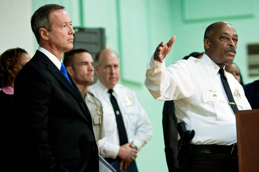 Prince George's County Sheriff Melvin C. High and Gov. Martin O'Malley last Thursday highlighted the successes of the Warrant Task Force at news conference at police headquarters. Five days later, the Sheriff's Office admitted that a deputy serving a peace order last month did not arrest the man, who was wanted on an outstanding warrant. (T.J. Kirkpatrick/The Washington Times)