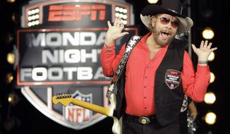 "**FILE** In this photo from July 14, 2011, Hank Williams Jr. performs during the recording of a promo for ESPN's broadcasts of ""Monday Night Football,"" in Winter Park, Fla. (Associated Press)"