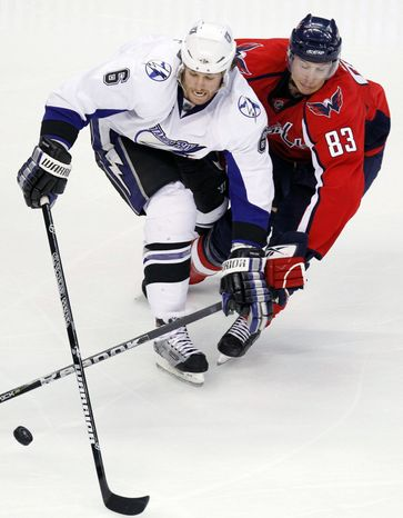 Washington Capitals forward Jay Beagle has not played since Oct. 13 after sustaining a concussion in a fight, but Saturday he skated for the first time in three weeks --- a small step in his recovery. (AP Photo/Luis M. Alvarez)