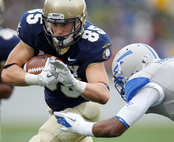 Sophomore wide receiver Matt Aiken, shown against Air Force on Saturday, has caught at least one pass in each of Navy's four games. (Associated Press)