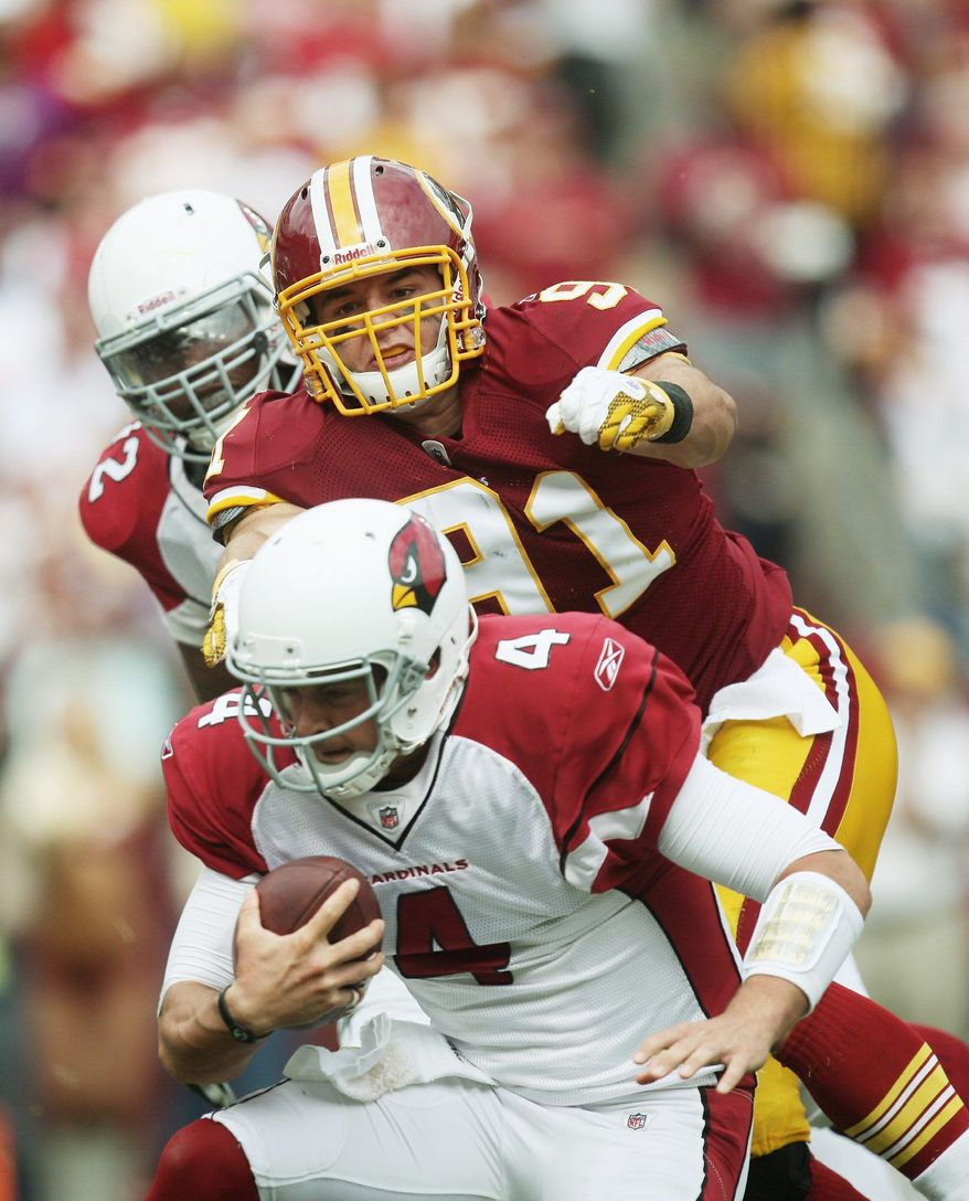 The play of Ryan Kerrigan (above)  has been a benefit to fellow linebacker Brian Orakpo, who had 5 tackles, 2 1/2 sacks and a forced fumble Sunday. (Pratik Shah/The Washington Times)