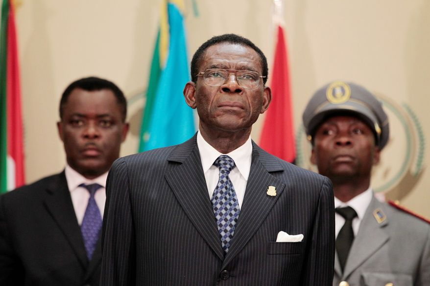 Equatorial Guinea President Teodoro Obiang Nguema (center) first proposed to UNESCO in 2008 the awarding of a $3 million life-sciences prize, but objections to the central African strongman's involvement have prevented its adoption. (Associated Press)