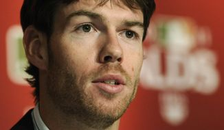 Detroit Tigers pitcher Doug Fister speaks to the media during a news conference, Wednesday, Oct. 5, 2011 at Yankee Stadium in New York. Fister is scheduled to start against the New York Yankees in Game 5 of baseball's American League division series on Thursday. (AP Photo/Bill Kostroun)