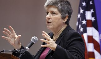 Homeland Security Secretary Janet Napolitano speaks on the department's enforcement of immigration laws on Wednesday, Oct. 5, 2011, at American University in Washington. (AP Photo/Jacquelyn Martin)