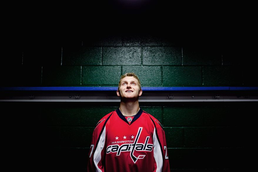 "Defenseman Karl Alzner, 23, is praised by Capitals brass for his sound technique, and he wants to add offense to his repertoire. ""I've been working on handling the puck more and making better plays."" (Andrew Harnik/The Washington Times)"
