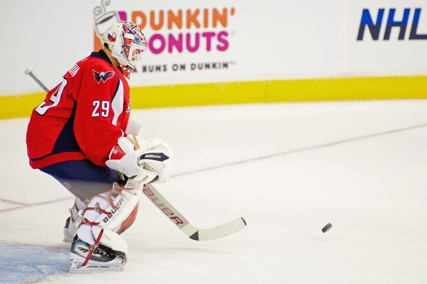 "New Washington goaltender Tomas Vokoun is still in the ""learning stage,"" according to goaltending coach Dave Prior. For the Capitals to succeed, however, the 35-year-old will have to adjust quickly once the regular season begins. (Andrew Harnik/The Washington Times)"