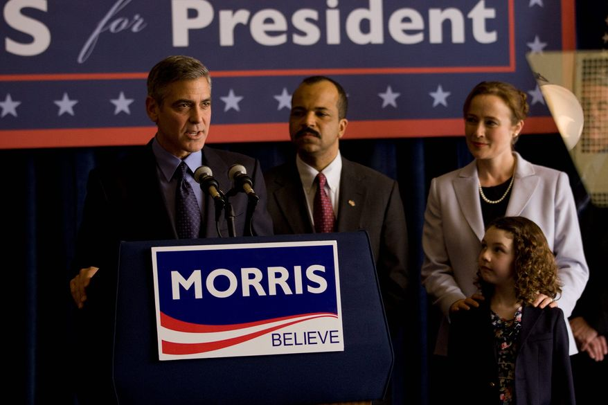 """""""The Ides of March,"""" starring (from left) George Clooney, Jeffrey Wright, Jennifer Ehle and Talia Akiva, puts political idealism to the test while delving into the presidential campaign of a liberal purist candidate (Mr. Clooney). (Photograph by Sony via Associated Press)"""