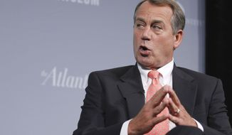House Speaker John Boehner, Ohio Republican, addresses the third annual Washington Ideas Forum at the Newseum in Washington on Oct. 6, 2011. (Associated Press)