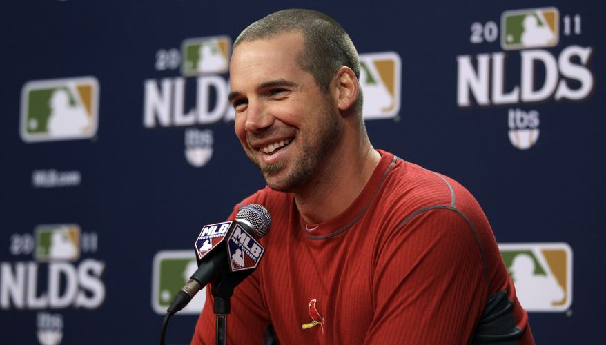 St. Louis Cardinals' Chris Carpenter laughs during a baseball news conference, Thursday, Oct. 6, 2011, in Philadelphia. he Cardinals are scheduled play the Philadelphia Phillies in Game 5 of the National League division series on Friday. (AP Photo/Matt Slocum)