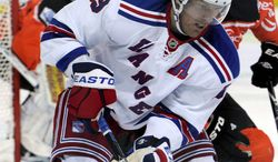 Brad Richards, of the New York Rangers, in action during the friendly icehockey match between Switzerland's National League A Team EV Zug and USA's NHL team New York Rangers, at the Bossard Arena in Zug, Switzerland, Monday, Oct. 3. 2011. (AP Photo/KEYSTONE/Sigi Tischler)