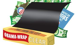 Illustration: Obama Wrap by Greg Groesch for The Washington Times