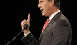 **FILE** Republican presidential candidate and former Pennsylvania Sen. Rick Santorum speaks Sept. 24, 2011, during the Florida Republican Party Presidency 5 Convention in Orlando, Fla. (Associated Press)