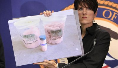 Laura Duffy, the United States Attorney for the Southern District of California, displays photos of marijuana cotton candy found for sale at a medical marijuana dispensary in her district, during a news conference in Sacramento, Calif., Friday, Oct. 7, 2011. (AP Photo/Rich Pedroncelli)