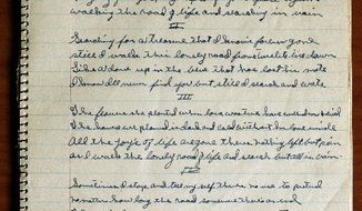 """A notebook that belonged to country music legend Hank Williams included lyrics to a song titled """"Searching in Vain."""" A collection of unfinished Williams lyrics were burnished and recorded by Merle Haggard, Norah Jones and others. (Associated Press)"""