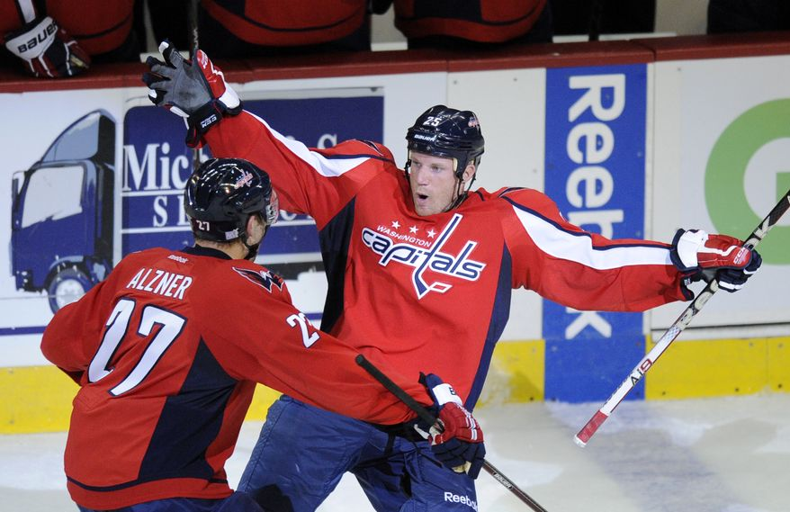 Washington Capitals left wing Jason Chimera, right, celebrates his goal with teammate Karl Alzner (27) during the second period of an NHL hockey game against the Carolina Hurricanes, Saturday, Oct. 8, 2011, in Washington. (AP Photo/Nick Wass)