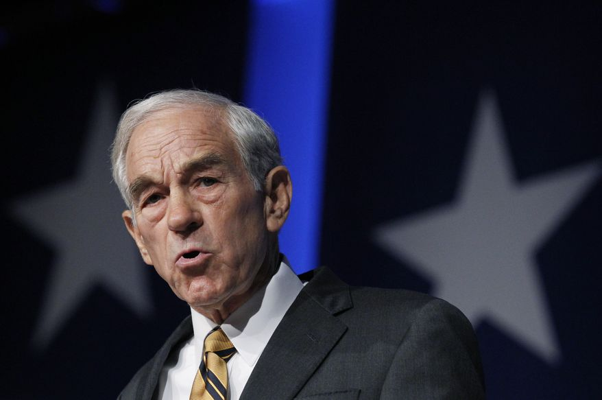 Rep. Ron Paul, a candidate for the Republican presidential nomination, speaks at the Values Voter Summit in Washington on Saturday, Oct. 8, 2011. (AP Photo/Manuel Balce Ceneta)