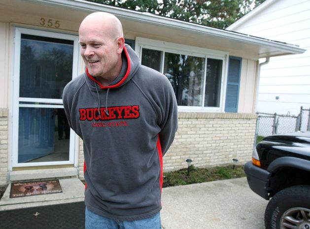 "Samuel ""Joe the Plumber"" Wurzelbacher laughs while chatting with the media outside of his home in Holland, Ohio, in 2008. (Associated Press) ** FILE **"