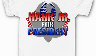 "Country crooner Hank Williams, Jr. is now selling ""Hank Williams for President"" T-shirts to answer critics upset after the singer compared President Obama to Hitler. (HankJr.com)"
