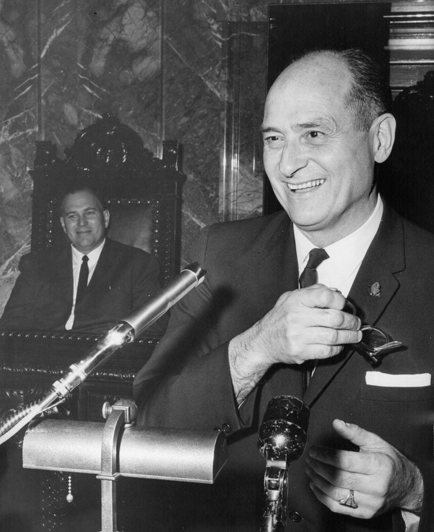 In this undated photo, then-Washington Gov. Albert Rosellini begins a State of the State address in Olympia, Wash. Mr. Rosellini, who served from 1957 to 1965, died Monday at 101. (Associated Press)